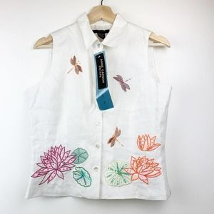 ANNE CARSON 100% Linen Embroidered Top PM NEW